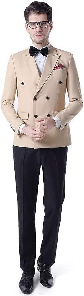 2 PCs Men Suits (Jacket+Pants) Slim Fit Double Breasted Blazer Wedding Prom Grooms Tuxedo Plus Size