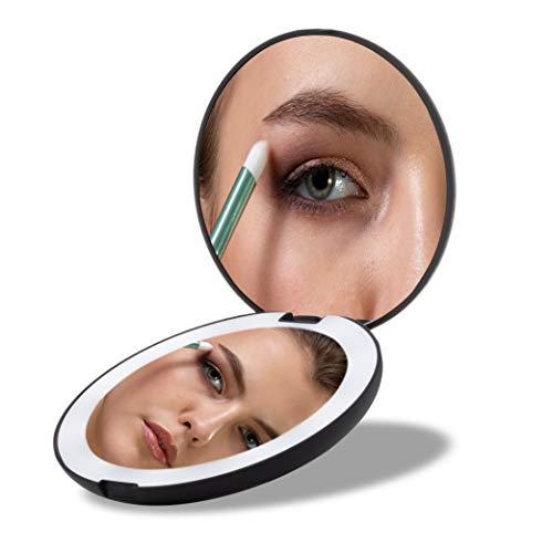 MEOREX Espejo de Bolsillo Compacto Iluminado LED...