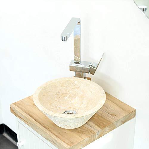 wohnfreuden Marmor Waschbecken 30 cm klein rund Creme Naturstein Handwaschbecken Waschschale Naturstein Aufsatzwaschbecken für Gäste WC Bad inkl. techn. Zeichnung