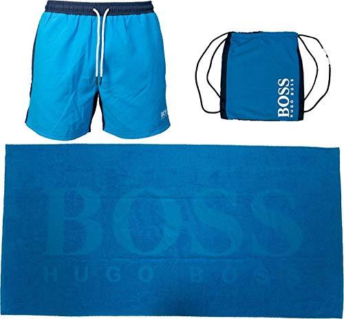 BOSS Beach Set Juego de Regalo con Toalla de baño, Bright Blue438, XL para Hombre