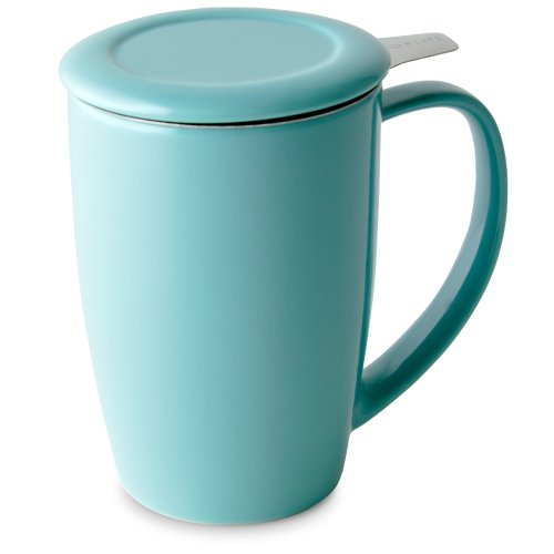FORLIFE Curve Tall Tea Mug with Infuser and Lid 15 ounces, Turquoise