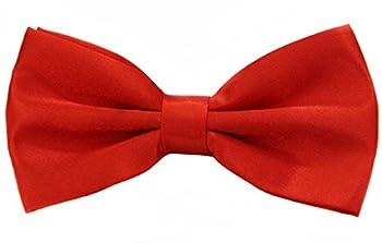 Soophen Per-Tied Mens Adjustable Length Formal Tuxedo Bow Tie Red Orange