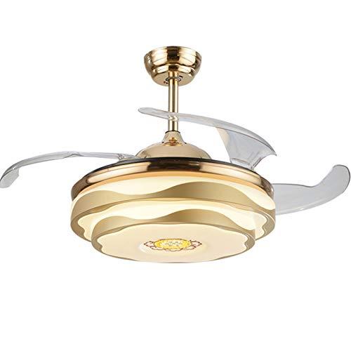 Ventilador de techo invisible Luz Velocidad del viento ajustable creativa Lámpara de luz de ventilador LED Luces de techo Lámpara de ventilador de sala de estar minimalista moderna,Gold-42 inches