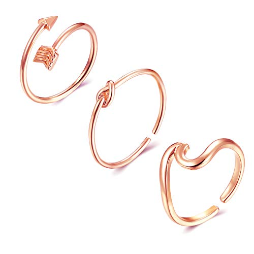 Long tiantian 3Psc Silver Adjustable Rings for Teen Girls Simple Arrow Knot Vsco Wave Rings Set