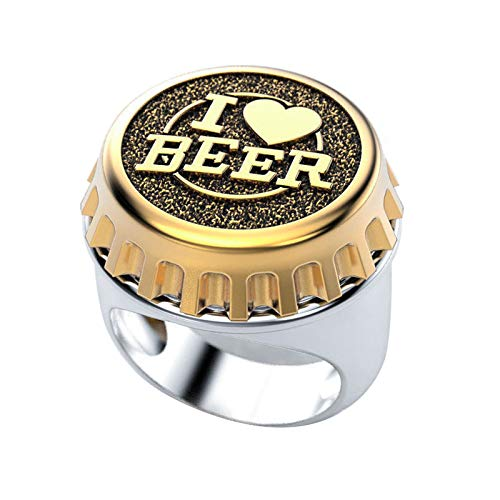 EzzySo Bierflasche Cap Ring, europäische und amerikanische Modeschmuck Zweifarbige Kreative Ich mag Bier Ring Ring Schmuck (2 Stück),B,12