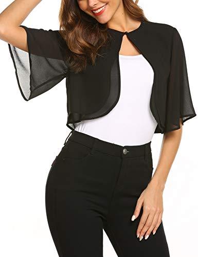 SoTeer Women Summer Chiffon Shrug Short Sleeve Cropped Sheer Bolero Shrug Cardigan, Black, L