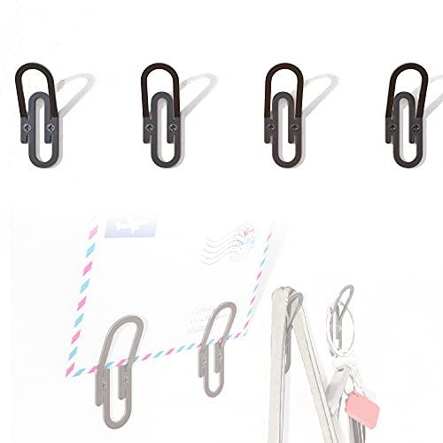 Perchero de pared para ropa y accesorios. Diseño original en forma de clip (4 unidades)