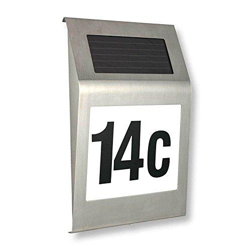 MCTECH® LED Solarhausnummer edelstahl Solar Hausnummernleuchte LED Beleuchtete Hausnummer 2 LED mit Dämmerungsschalter und amorphem Silizium- Solar-Panel (B Type)