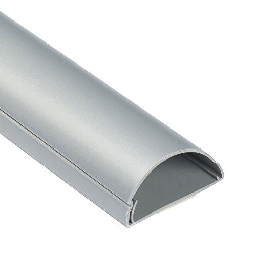 D-Line 1M5025A TV halbrunder Kabelkanal | Kabelabdeckung | 50x25 mm, 1 m Länge, Aluminium-Effekt