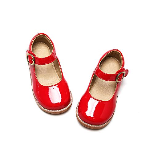 THEE BRON Girl's Mary Jane School Uniform Dress Shoes (11M, G30-Red)
