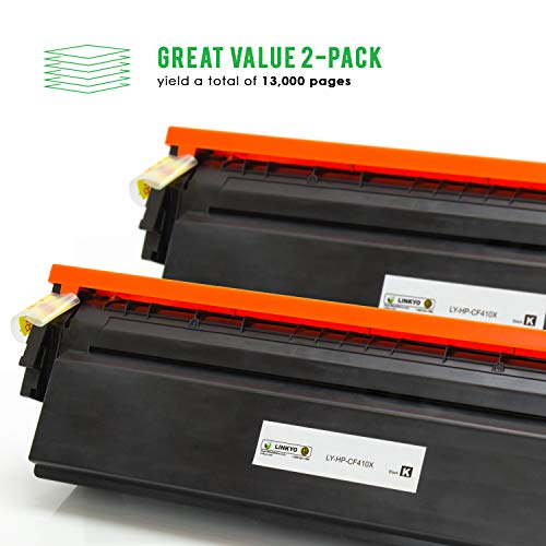 LINKYO Compatible Toner Cartridge Replacement for HP 410X 410A CF410X (Black, High Yield, 2-Pack) Photo #2