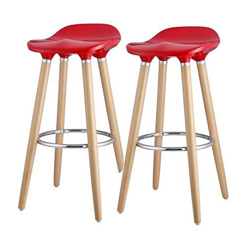 OSLO Lot de 2 tabourets de bar rouge + pieds hetre massif - Contemporain - L 39 x P 40 cm