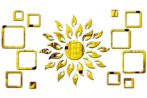 Bikri Kendra - Sun Golden con 2 Set Cuadrado Dorado - Pegatinas de pared de espejo acrílico 3D