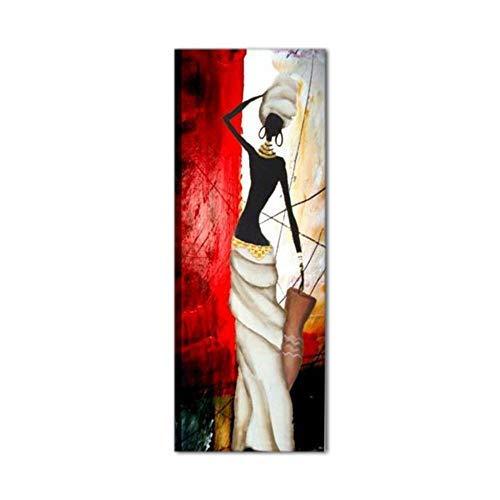 I Colori del Caribe Quadri Moderni Verticali Olio su Tela Dipinti A Mano Etnici Donna Rosso Bianco Nero Alta QUALITA' Made in Italy Jessica