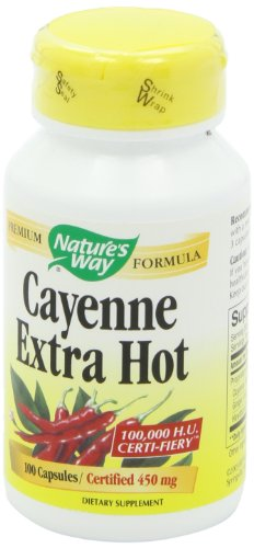 Nature's Way Cayenne Extra Hot 100,000 HU Potency, 100 Vcaps (Packaging May Vary)