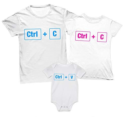 Overthetee Tris T-Shirt e Body Coordinato Famiglia - Ctrl+C - Mamma e papà - Ctrl+V - Body Maschietto - Tshirt Mamma papà e Figlio - Tris di Tshirt - Body Neonato - Idea Regalo