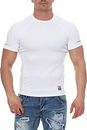 Happy Clothing Herren Sport T-Shirt Kurzarm Trikot Sommer Funktionsshirt Fitness Top, Größe:L, Farbe:Weiß