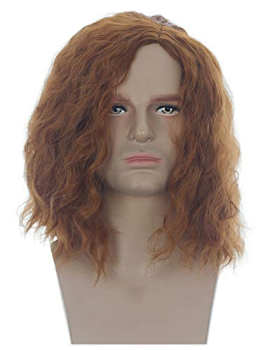 Men Shoulder Length Fluffy Curly Male Hair Wig (Red Brown)