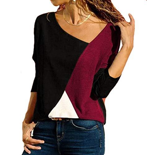 Damen T-Shirts Langarm Langarmshirt Patchwork Locker V-Ausschnitt Pullover Bluse (L, WD)