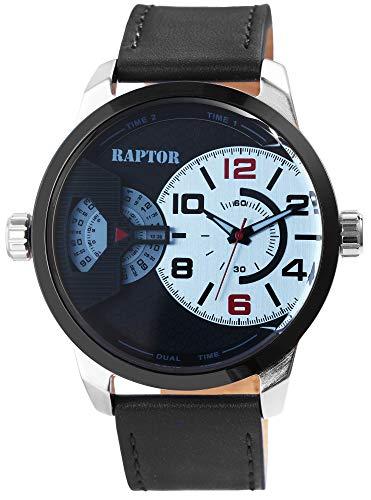 Raptor Herren-Uhr Echt Leder Armband Dual Time Leuchtzeiger Analog Quarz RA20289