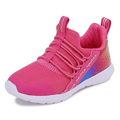 Nautica Kids Toddler Sneaker Athletic Slip-On Bungee Running Shoes Boy-Girl Toddler Little Kid-Kinssale-Fuchsia Rainbow-9