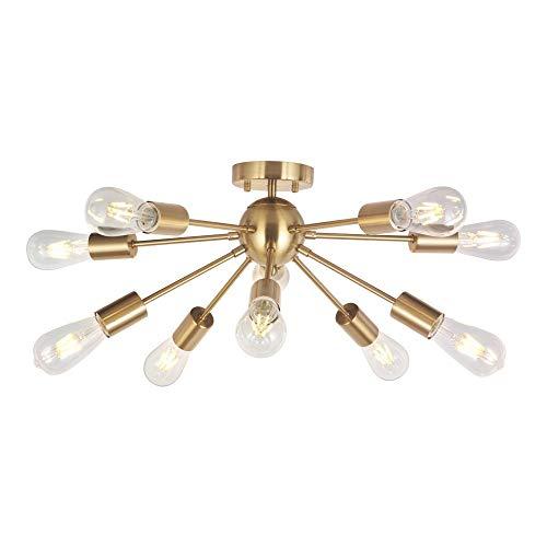 Lámpara de araña moderna Sputnik de 10 luces de latón cepillado semi empotrable luz de techo oro centuPendant iluminación por BONLICHT