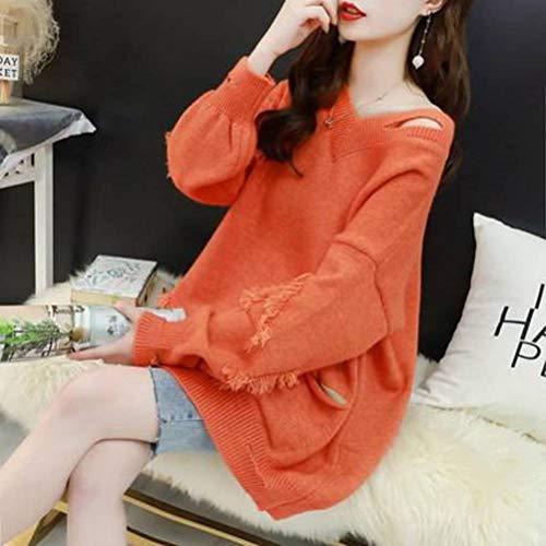 Golden_flower Lässige V-Ausschnitt-Pullover für Damen im Mittellang, Lockere Oberbekleidung, Langarmjacke im Herbst und WinterOrange, Einheitsgröße