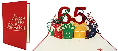 LIN-POP UP Grußkarten zum 65. Geburtag, Geburtstagskarten Glückwunschkarten Grußkarten Geburtstag