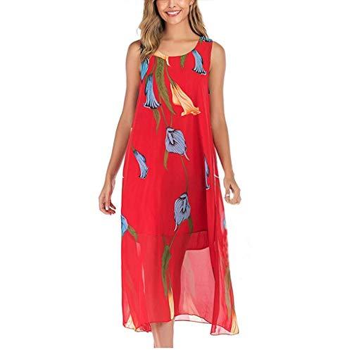 Ga eerste Vrouwen Vrije tijd Rode Jurk Modieuze Bloemen afdrukken Mouwloos Lange Jurk Zomer Lichtgewicht Comfortabele Eenvoudige Vintage Jurk