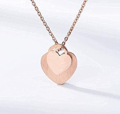 LKLFC Collar Collar con candado de corazón Romántico Grabado Amor En Forma de corazón Mujeres Gargantilla Collares Amantes Joyería Regalo Colgante Collar Regalo para Mujeres Hombres Niñas Niños