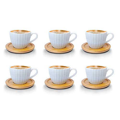Kaffeetassen Espressotassen Cappuccinotassen mit untersetzer Bambus untersetzer Porzellan 6 Tassen + 6 Untersetzer Weisse Kaffeetassen Set (Espressotassen 100 ml, Model 1)