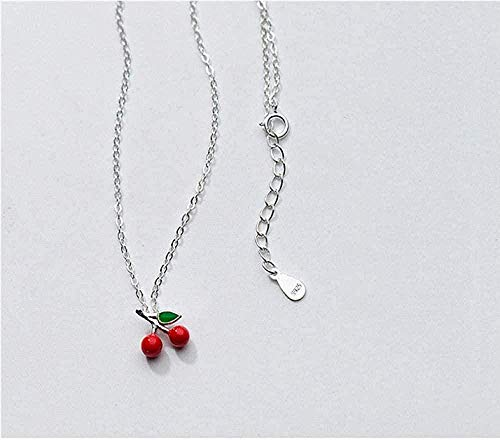 WLHLFL Necklace Lovely Red Cherry Choker Pendant Necklace for Women 925 Sterling Silver Jewelry Birthday Gift Pendant Necklace Girls Boys Gift