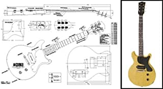 Plan of Gibson Les Paul Jr. Double-Cutaway Electric Guitar - Full Scale Print