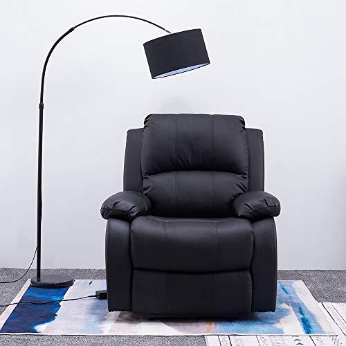 Panana Fauteuil Relax Electrique en Simili Cuir, Dossier et Repose-Pieds Inclinables, Relaxation de Salon, 90 cm (L) x 76 cm (l) x 104 cm (H) (Noir)