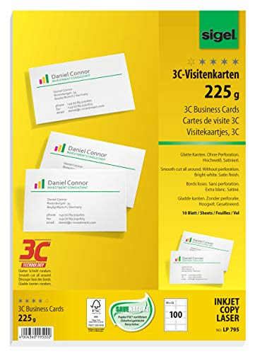 Sigel LP795 Biglietti da visita, 3C, con taglio netto tutt'intorno, bianco, 85x55 mm (A4), 225 g, 100 pz.=10 fg.