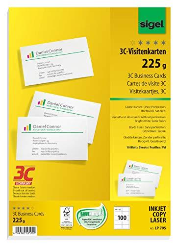 Sigel LP795 - Tarjetas de visita (100 unidades en 10 hojas, A4), color blanco
