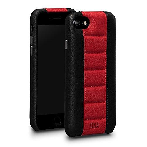 Sena Racer - Funda de piel para iPhone 6, 7 y 8 (cierre a presión), color negro y rojo