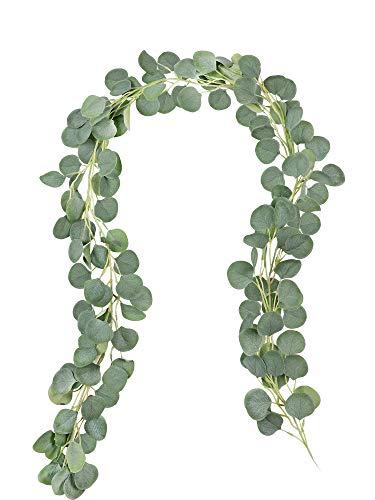 Famibay 2 Stück Künstliche Eukalyptus Girlande Eukalyptusblätter Hängende Girlande Hochzeit Deko