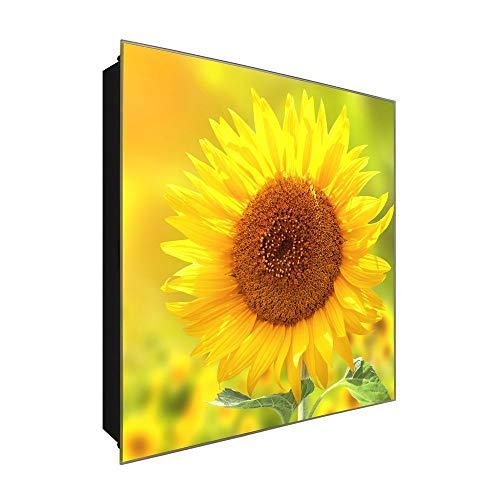 DekoGlas Schlüsselkasten 'Gelbe wie die Sonne' 30x30 Glas, inkl. Haken Schlüsselbrett Schlüssel-Box Design Aufbewahrung