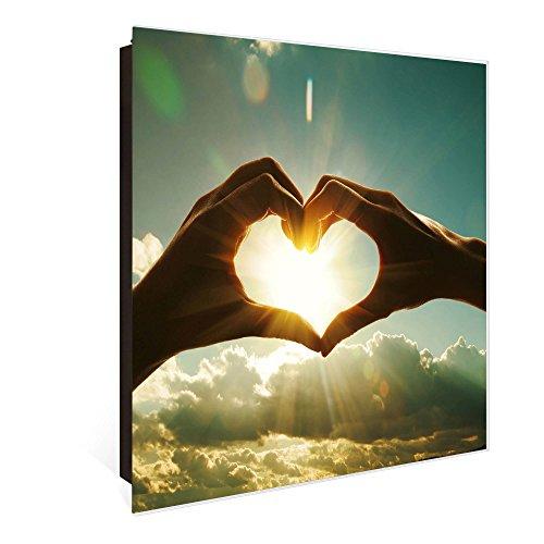banjado Großer Schlüsselkasten aus Glas | Schlüsselbox mit 50 Haken | beschreibbare Glastür Scharnier Rechts | als Magnettafel nutzbar | Schlüsselaufbewahrung 30cm x 30cm | Motiv Sonne im Herzen