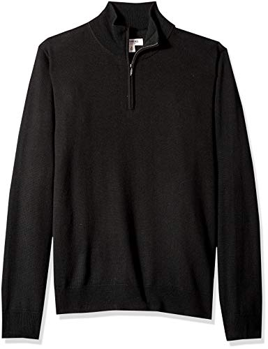 Amazon Brand - Goodthreads Men's Lightweight Merino Wool Quarter Zip Sweater, Black, Medium