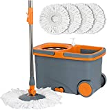 Casabella Spin Cycle Wet Mop and Bucket,...