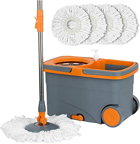 Casabella Spin Cycle Wet Mop and Bucket, Floor Cleaner with 5 Microfiber Heads, 4, Graphite/Orange