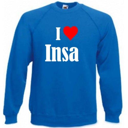 Reifen-Markt Sweatshirt Damen I Love Insa Größe XS Farbe Blau Druck Weiss