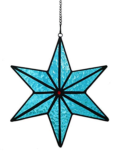 "Alivagar Stained Glass Holiday Decor Suncatcher Ocean Snowflake Ornament, 6"" x 7"""