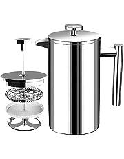 Franse Koffiepers - Dubbelwandige 100% Roestvrij Staal - 1000 ml/ 1 Liter (32 Oz) - door KICHLY
