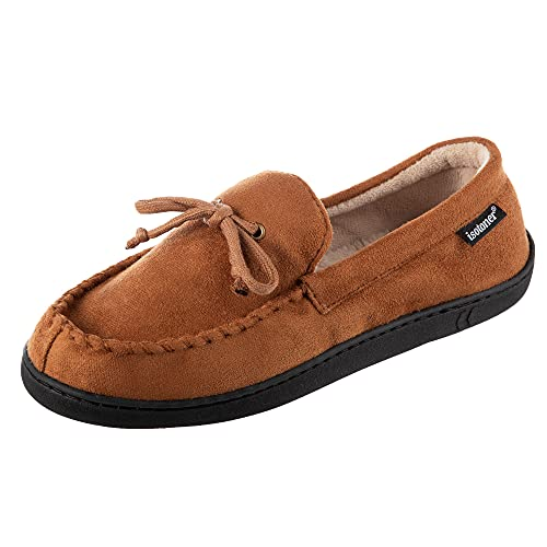 isotoner Men's Microsuede Moccasin Slipper with Cooling...