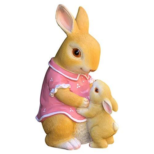 Mankvis Escultura de Estatua de Conejo de Madre e Hijo, artesanía de Animales de Resina de jardín, Adornos de decoración del hogar H24CM