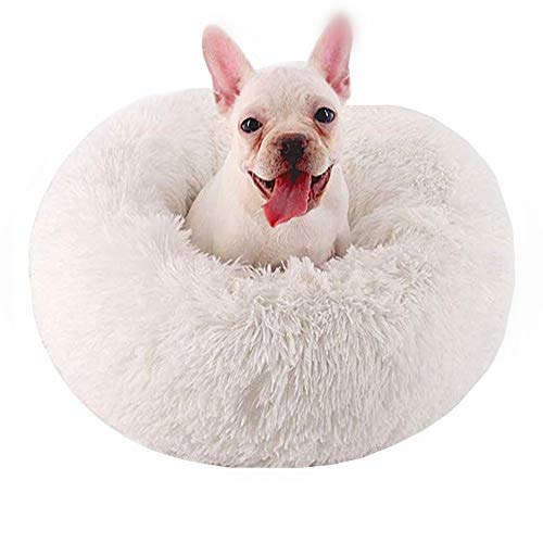 Neekor Cat Dog Beds, Soft Plush Donut Pet Bedding Winter Warm Sleeping Round Fluffy Pet Calming Bed Cuddler for Puppy Dogs/Cats, Size: Small/Medium/Large (White/Medium Size)