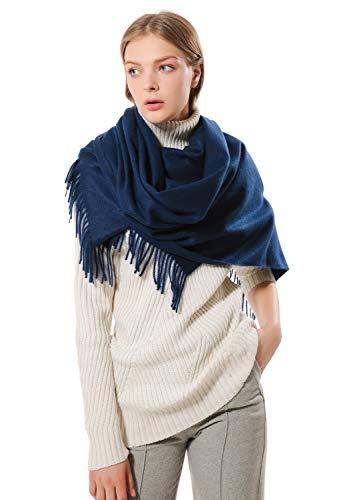 Eagool Bufanda de cachemir gruesa para mujer idea de regalo para mujer chal de lana súper suave extremadamente cálido para invierno otoño y primavera (azul marino)